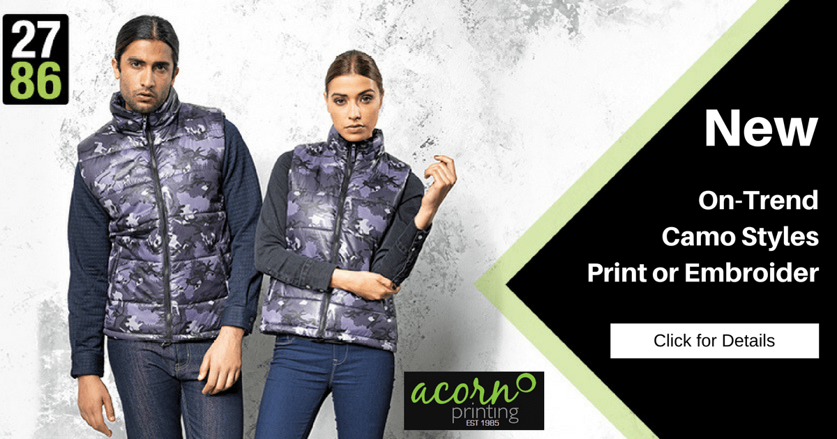 Customised camo body warmers supplied by UK-based Acorn Printing