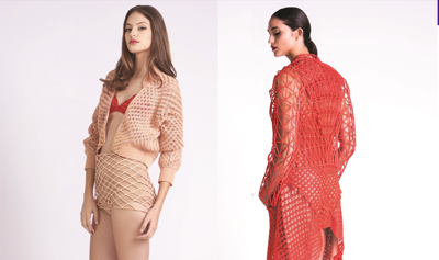 Two women modelling 3D printed clothing