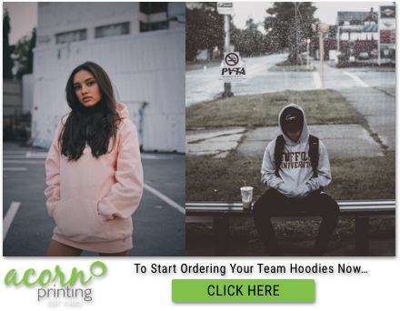 Woman modelling pink hoodie and man sitting with university hoodie on
