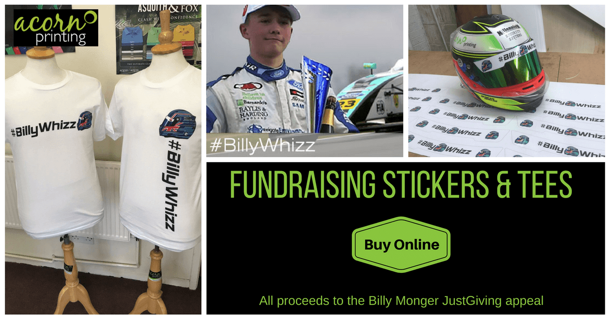 billywhizz fundraising for Billy Monger. Stickers and t-shirts available to buy online
