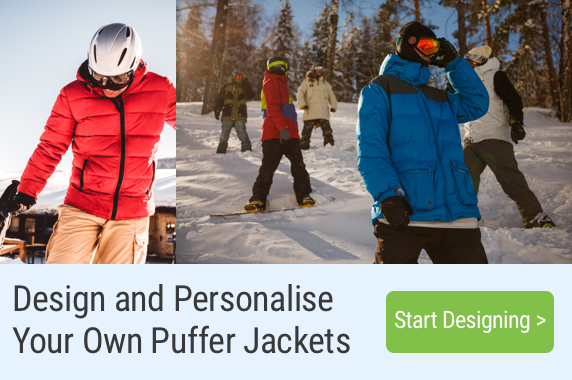 photographs of men skiing in puffer jackets