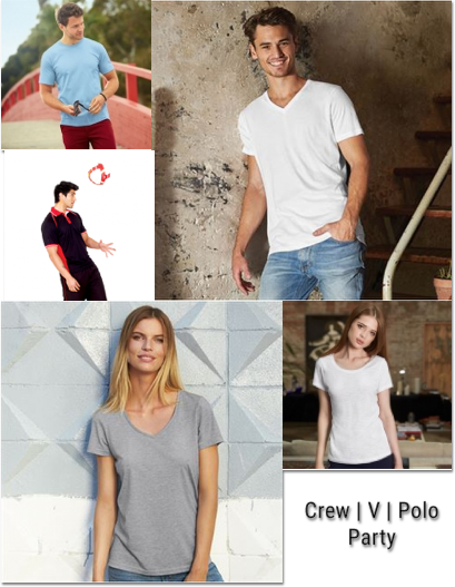 Collage of men and women wearing t-shirts with a different fit
