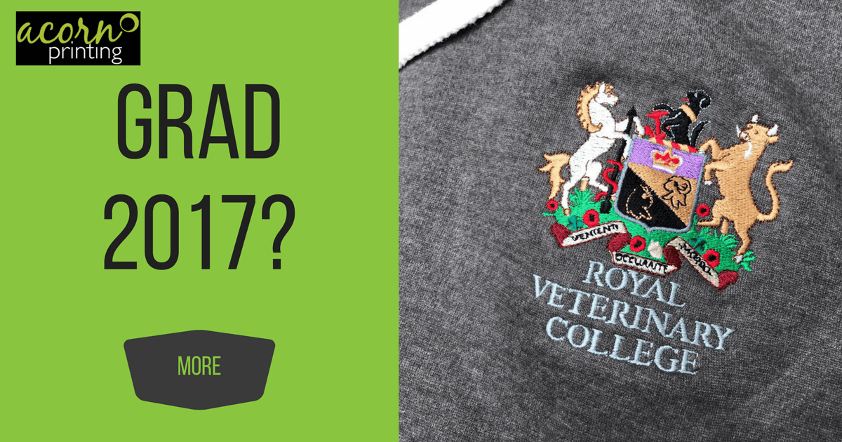 Custom embroidery for hoodies for the Royal Veterinary College grad and rag week events