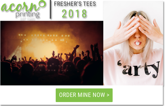 freshers tshirt banner with woman covering her eyes and wearing custom tshirt