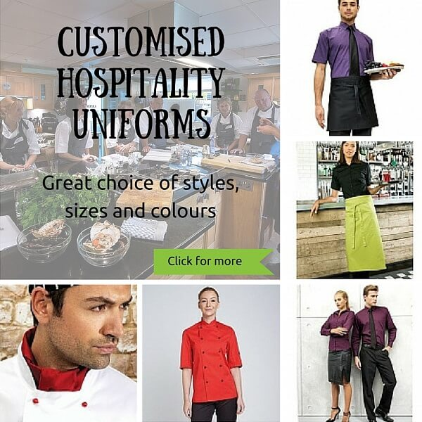 Hospitality uniforms printed and embroidered