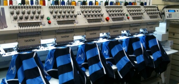 Acorn has a range of advanced embroidery machines onsite